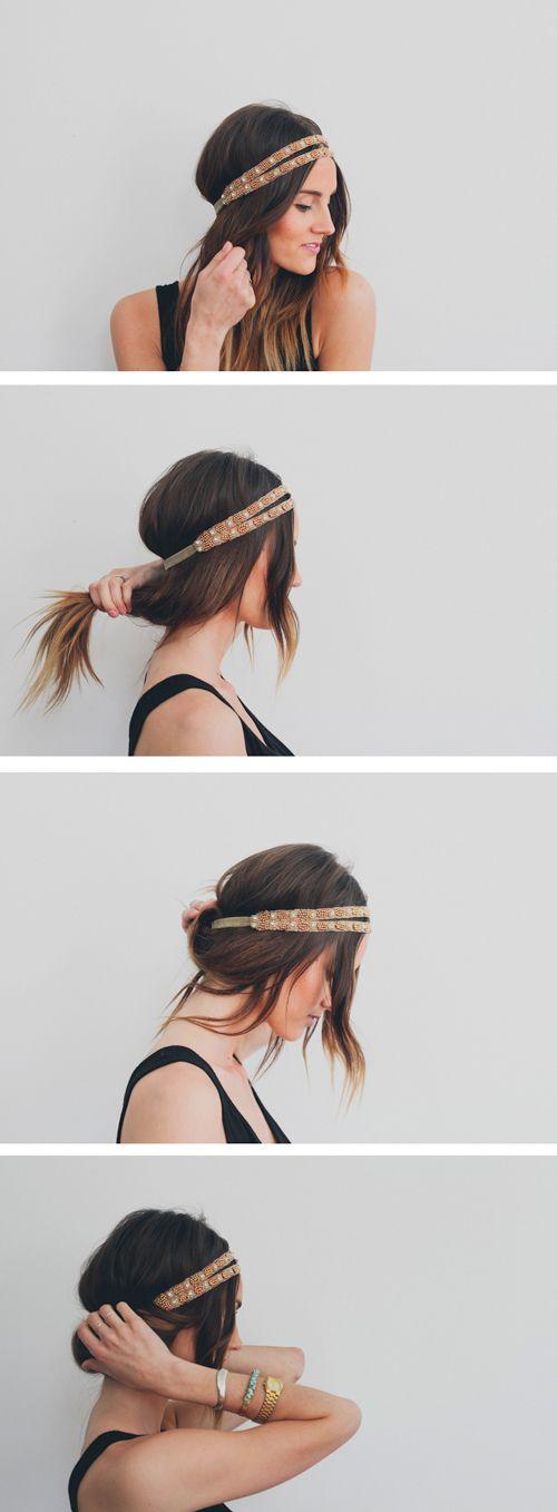 Coiffure chignon avec bijoux de cheveux